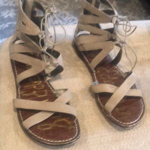Sam Edelman sued leather  lace up flats